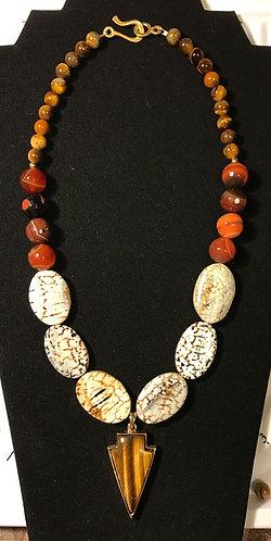 Tiger Eye Arrowhead Necklace
