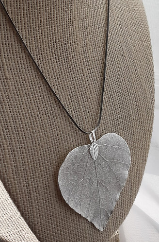 Silver-Plated Leaf Pendant Necklace