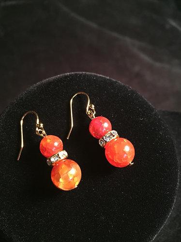 Orange Crackle Earrings