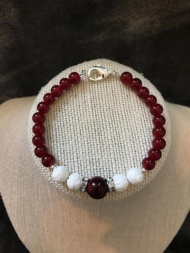 Dark Red & White Rhinestone Bracelet