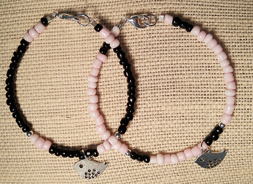 Buddy Bracelets - BIRD (Black & Light Pink)