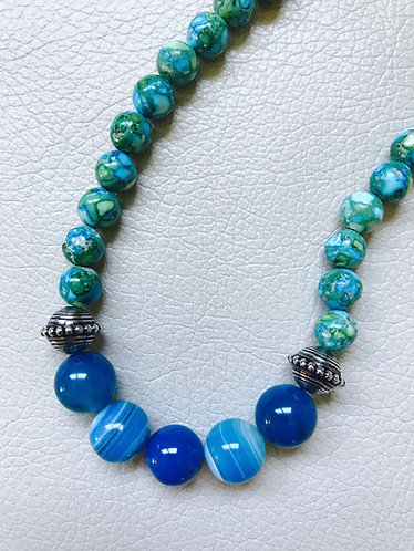 Aqua Agate & Quartzite Necklace & Earrings Set