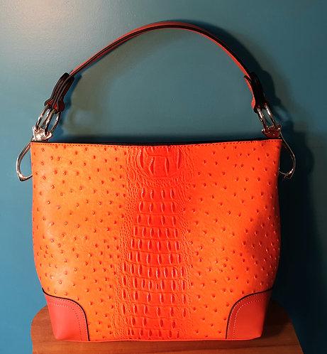 Orange Ostrich Texture Bag