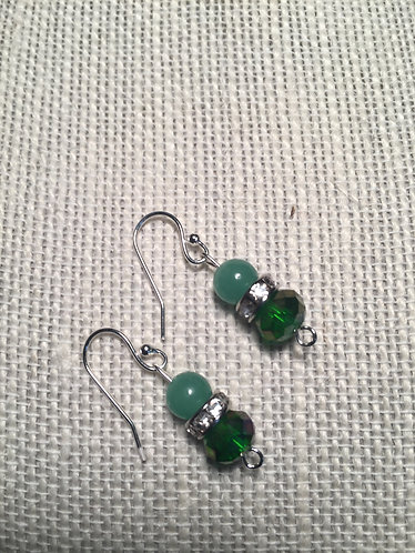 Green Faceted Rhinestone Earrings