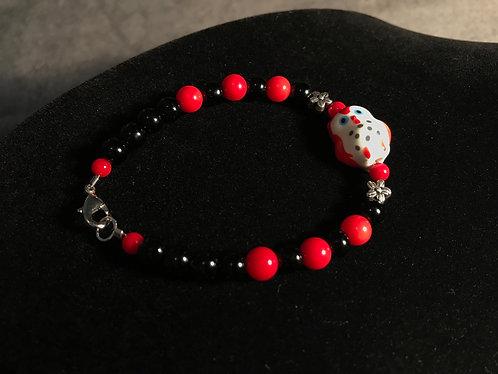 Red Ceramic Owl Bracelet w/Red Bamboo Coral - Sz SM-MED