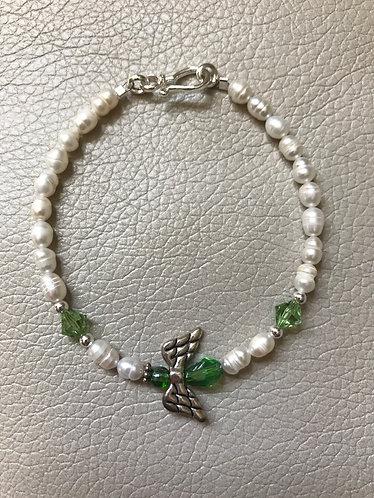 Angel Wing Birthstone Bracelet - August