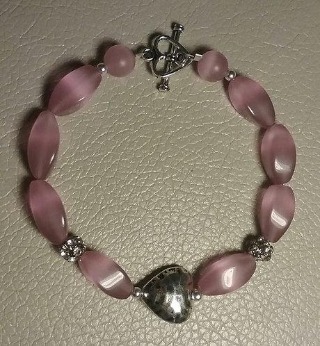 Pink Cats Eye Heart Bracelet
