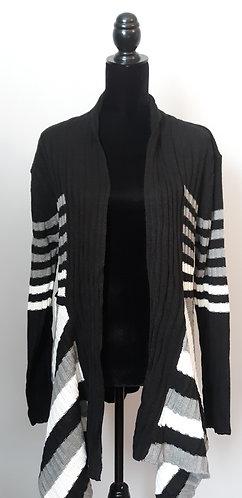 Black & Gray Ribbed/Striped Cardigan 2X