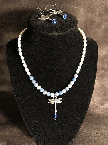 September Birthstone Dragonfly Choker & Earrings Set