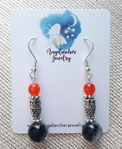Black & Orange Crackle Owl Earrings