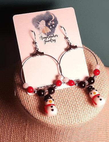 Mini Snowman Necklace & Earrings Set