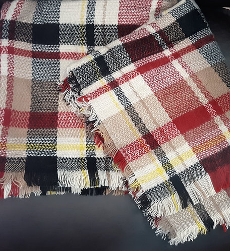 Burgundy, Navy & Tan Blanket Scarf/Wrap