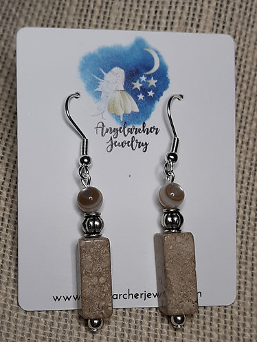 Riverstone & Natural Mother of Pearl Earrings