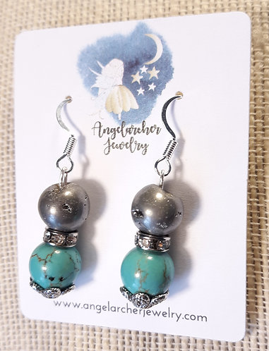 Turquoise Howlite & Silver Agate Crater Earrings