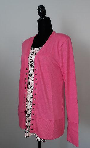 Snap Cardigan Sweater - Fuschia