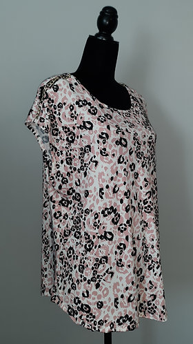 Pink & Black Leopard Chain Accent Top
