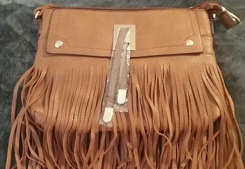 Fringe Vegan Leather Crossbody Purse – Camel