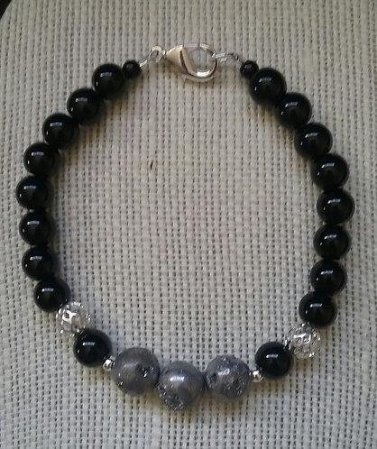 Silver-Gray Agate Bracelet