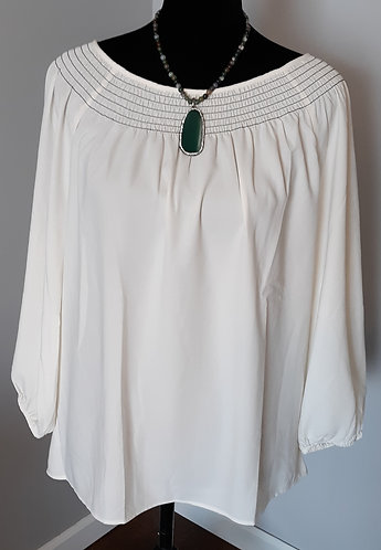 White Smocked-Neck Blouse