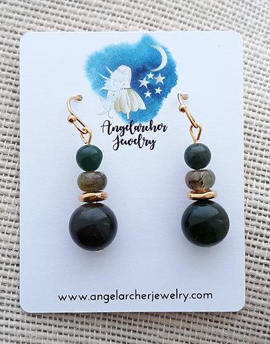 Green Agate & Fancy Jasper Earrings