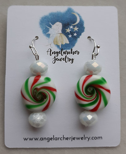 Peppermint Candy Earrings w/White Faceted Beads