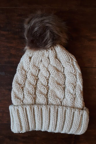 Oatmeal Cable Knit Pom Beanie