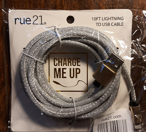 10 ft USB Phone Charging Cable – Silver Glitter