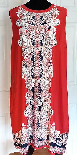 Sleeveless Swing Dress - Red XL