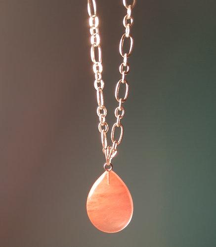 Rose Quartz Teardrop Chain Necklace