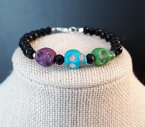 Medium Skull Bracelet - Purple, Lt Blue & Green