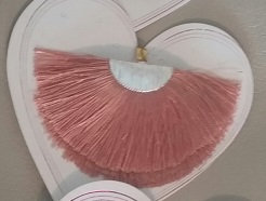 Fan Fringe Earrings - Blush w/Silvertone