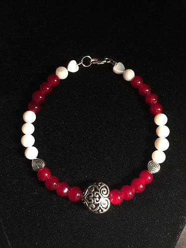 Swirl Heart Bracelet - Red & White