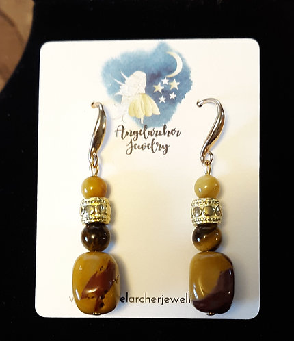 Yellow Jasper, Tiger Eye & Amber Earrings