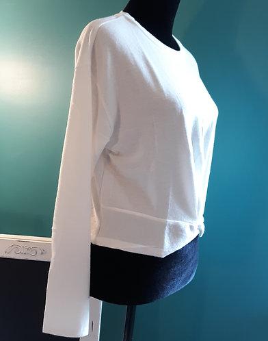 Soft Twist-Front Crop Top - White