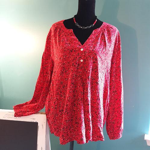 Red & Black Print Long-Sleeve Blouse