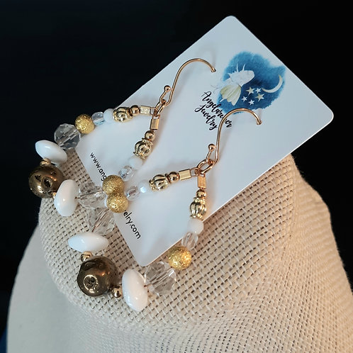 Teardrop Loop Earrings - White & Gold Agate Crater (SMALL)