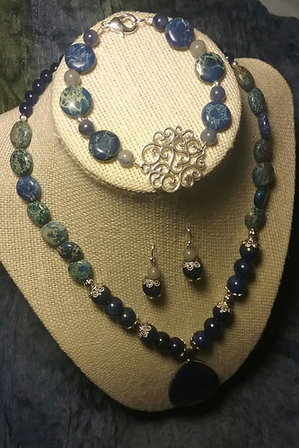 Blue Dyed Imperial Jasper & Aventurine Necklace Set