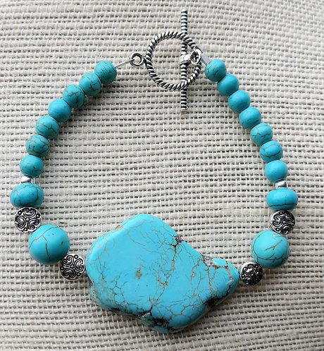 Turquoise Dyed Howlite Slab Bracelet