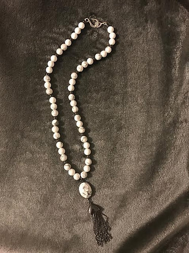 White Howlite Tassel Necklace