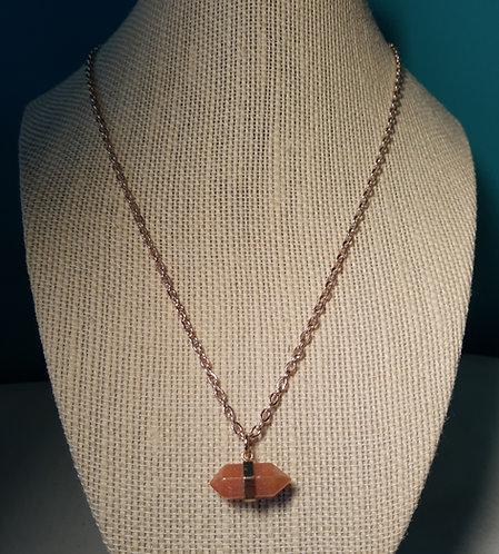 Peach Quartzite Mini Pendant Chain Necklace
