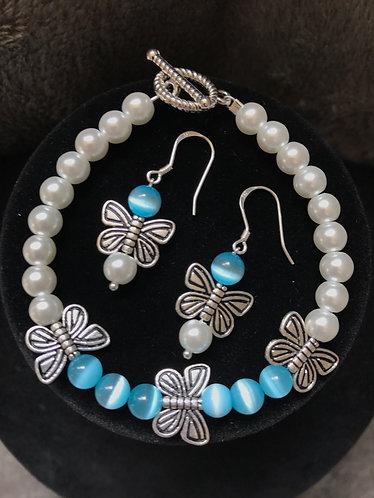 Light Blue Cats Eye Butterfly Bracelet & Earrings Set