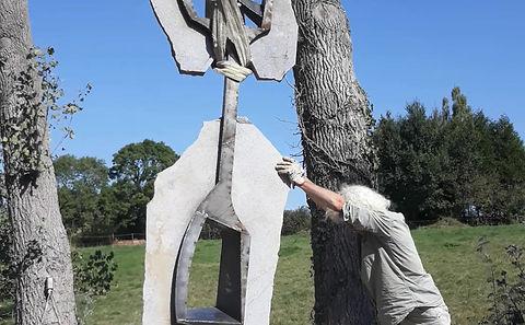 Sculpture Monumentale Granit et acier