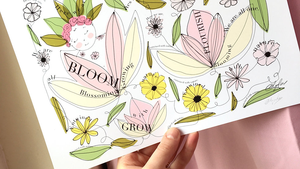 A4 Print | BLOOM BABY | Baby Art | Pregnancy Art | Midwife Doula | Mother | Gift