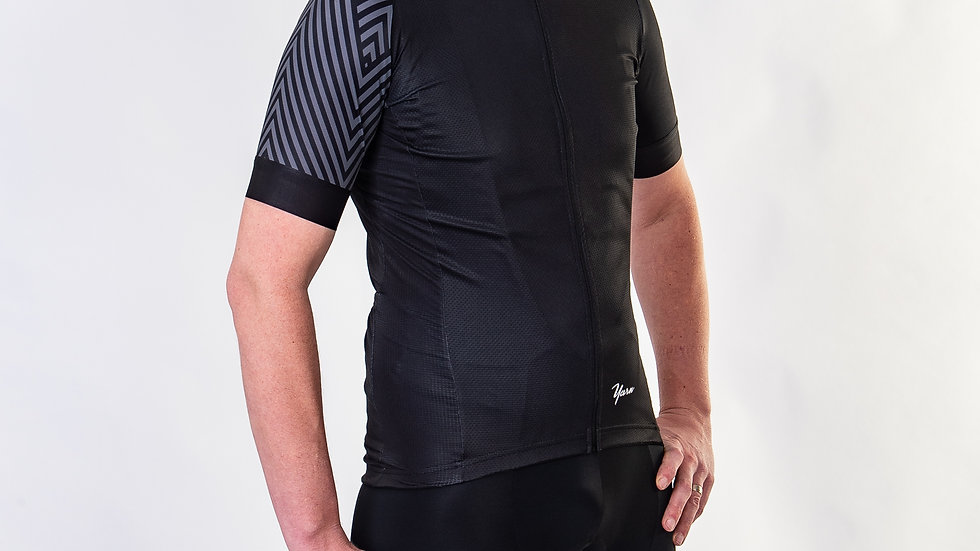 Yarn wielershirt heren zwart/grijs