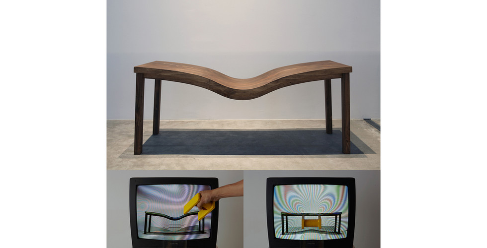 Level Table, 2012, live video installation, wood, magnet, TV, camera, 200 x 70 x 80cm