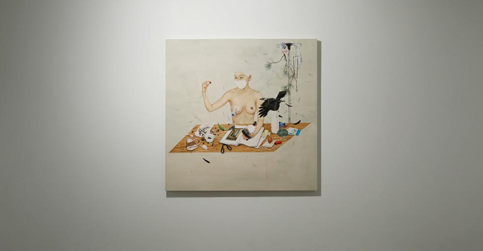 Lee JinJu, Restraints_Boundaries, 2012, korean color on fabcric, 104 x 117 cm