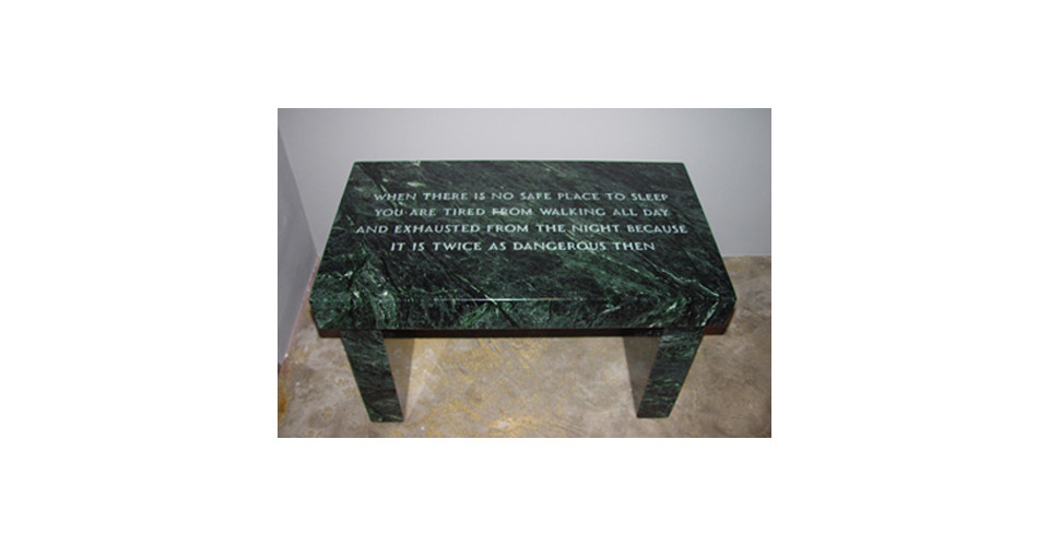 SURVIVAL WHEN THERE'S NO SAFE PLACE TO SLEEP…, 1997, verde antique marble footstool, MARKINGS Inscribed under footstool Jenny Holzerh 43.2 x 41.9 x 74 cm, Edition 1620