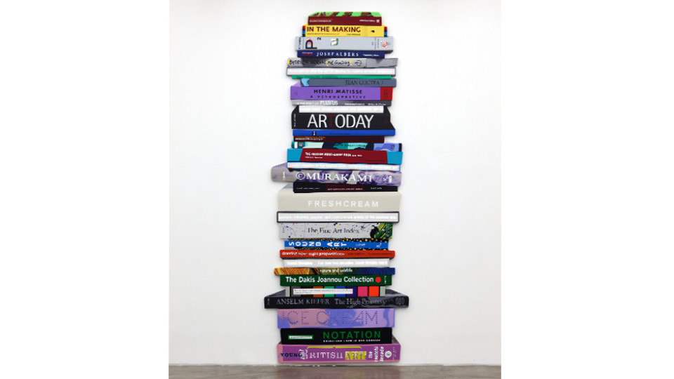 The Pile of Books - Vertical typeⅡ, 2014, acrylic on shaped canvas, LED lighting, 390 x 159 cm