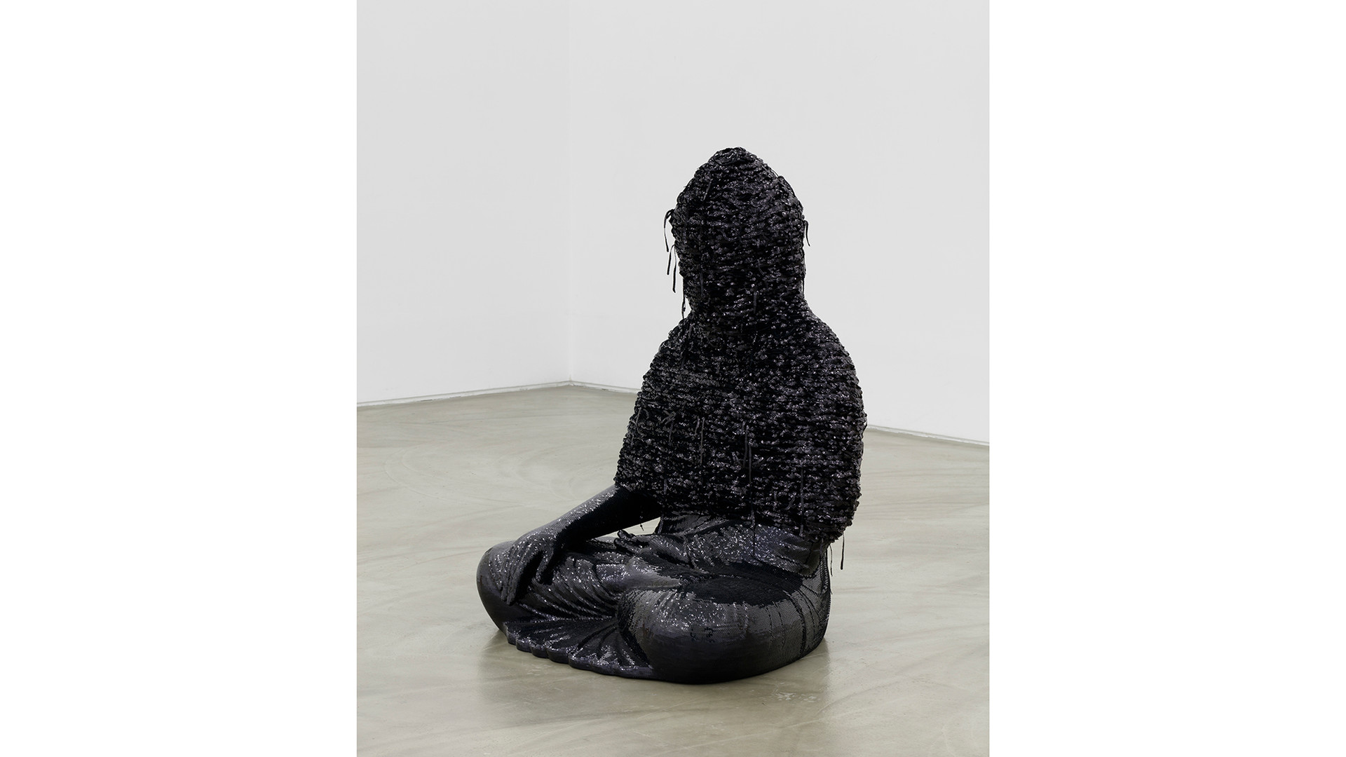 Noh, Sang-Kyoon, For the Worshipers #160601 H-black, 2014-2016, sequins on the Buddha statue of polyester resin and fiberglass, 120x93.5x78cm