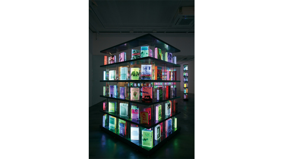 Installation view of Digital Book Project from solo exhibition, The Luminous Poem, Gallery Simon, 2011
